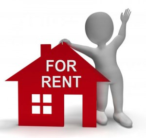 tips for on site residential property managers | figure with hand on roof of small house 'for rent'