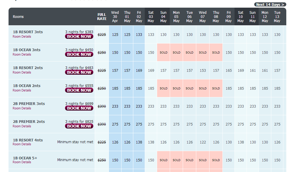 Hisite Booking Form Showing Rack Rate Comparison