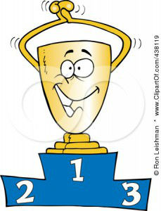 Cartoon Trophy On The Podium