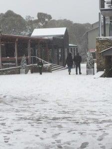 Snow in the village at Thredbo
