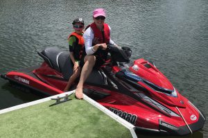 Rachel and son enjoying the Gold Coast waterways