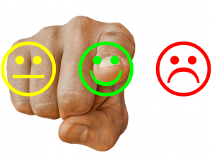 finger selecting a smiley face | Online business reviews | HiRUM