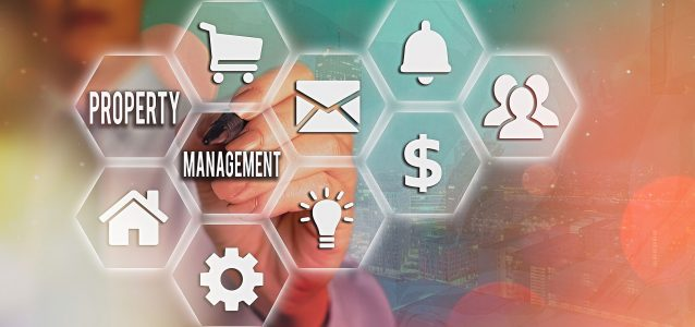icons honeycombed showing property management software features | HiRUM