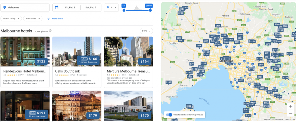 google hotel booking system displaying results for Melbourne | HiRUM