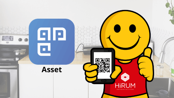 harry icon holding mobile phone with asset management mobile app | HiRUM