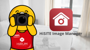 mascot with camera in hotel room | property management mobile app | HiRUM
