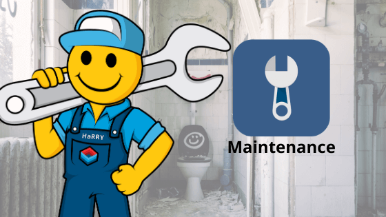 Harry icon holding spanner promoting maintenance manager app | HiRUM